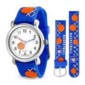 Christmas Gifts Bling Jewellery Blue Kids Boys Sports Watch Stainless Steel Back