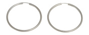 Sterling Silver Continuous Endless Hoop Earrings (2mm Tube), All Sizes