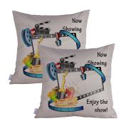Queenie® - 2 Pcs Movie & Music Theme Decorative Pillow Cases Throw Cushion Covers 45 cm x 45 cm 18 x 18 Inch