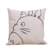 ME COO 2016 Vintage Cartoon Blend Decoration Pillow Case Cute Cartoon Totoro cat Cushion Home Sitting Room Office Zipper Decorative Throw Pillows cojines 43cm 43cm