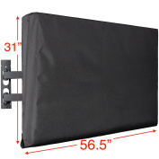 Kuzy - TV Cover 140cm , Display Weatherproof Outdoor TV Cover Protector for Flat Screen up to 140cm - Fits Most TV Mounts, LCD, LED, Plasma Screens, Made in USA - BLACK