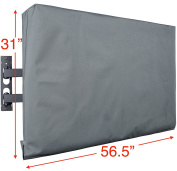 Kuzy - TV Cover 140cm , Display Weatherproof Outdoor TV Cover Protector for Flat Screen up to 140cm - Fits Most TV Mounts, LCD, LED, Plasma Screens, Made in USA - grey