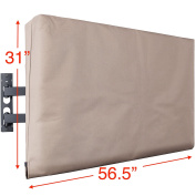 Kuzy - TV Cover 140cm , Display Weatherproof Outdoor TV Cover Protector for Flat Screen up to 140cm - Fits Most TV Mounts, LCD, LED, Plasma Screens, Made in USA - BROWN TAN