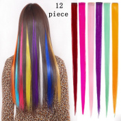Bundle 12 Pieces of 50cm Multi-colours Party Highlights Colourful Clip in Synthetic Hair Extensions,straight Long Hairpieces