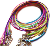 Amy's Craft Box 100 Mixed Colour Cotton Braided Wax Cord Necklaces With Lobster Clasps Extended Chain 48cm