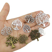 yueton Pack of 45 Alloy Tree of Life Charms Pendents Jewellery Findings for Making Bracelet and Necklace