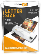 Zoomyo Laminating Sheets Letter Size 22cm x 28cm 5 mil High Gloss - 100 sheets per pack