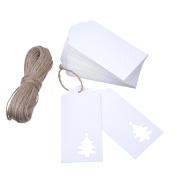 Outus White Kraft Paper Gift Tags (100 Pieces) Hollow Christmas Tree Pattern with Jute Twines 20m for Wedding and Christmas