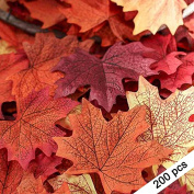 SMYLLS 200pcs Artificial Autumn Maple Leaves, Assorted Colours for Halloween, Fall Weddings & Autumn Parties Decoration