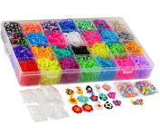 7500 Quality Rainbow Rubber Bands Refill Set by Daskid - Includes