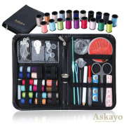 Askayo -Simple and Elegant- Sewing Kit, Clothing Repair Kit with Needles, Scissors, Thimble, 38-Count Spools of Coloured Thread, Convenient Zipper Carry Case for Travel, Vacation, and College Students