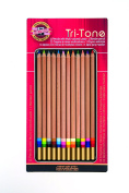 Koh-I-Noor Tri-Tone Multi-Coloured Pencil Set, 12 Assorted Colours in Tin and Blister-Carded