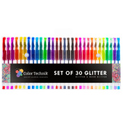 Glitter Gel Pens by Colour Technik, Set of 30 Glitter Pens, Best Assorted Colours, Now with More Ink. Largest Glitter Set on Amazon, Enhance Your Adult Colouring Book Experience Now! Perfect Gift Idea!