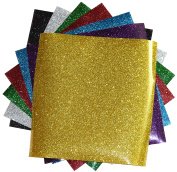 GLITTER Heat Transfer Vinyl for T Shirts garments bags and other fabrics-7 Glitter Sheets 25cm X 25cm - Assorted colours - Black,Silver,Red,Green,Gold,Purple and Aqua-Iron on Vinyl