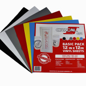 Oracal 651 Basic Pack - Adhesive Craft Vinyl for Cricut, Silhouette, Cameo, Craft Cutters, Printers, and Decals - Gloss Finish - Outdoor and Permanent