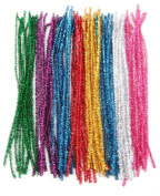 ALL in ONE 100pcs Mixed Colour Glitter Sparkle Pipe Cleaners Tinsel Stems 6mm 12-inch