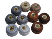 Vog Perle Cotton Size 8 Embroidery Threads - Set of 10 Balls (10gr Each) - Brown and Grey Shades