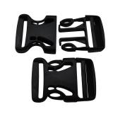 Ailisi 3.8cm Inside Width Plastic Curved Side Release Buckles One Size Adjustable for Backpack Straps Webbing Pack of 4