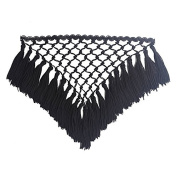 Resources House, 1piece Braided Black Fringe Tassel Trmming Applique Polyester Craft Latin Dress Decoration Sewing Accessories