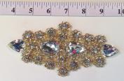 RHS-APL-478-GOLD. HOT FIX / IRON ON / SEW ON CRYSTAL RHINESTONE APPLIQUE - 18cm x 7.6cm