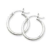 14k White Gold Diamond-Cut Hoop Earrings,