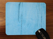 Blue Painted Vintage Old Wood Desktop Office Silicone Mouse Pad by Moonlight Printing