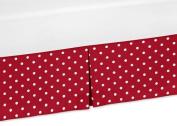 Sweet Jojo Designs Polka Dot Crib Bed Skirt Dust Ruffle for Little Ladybug Collection Bedding Sets