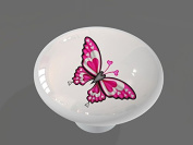 Butterfly Heart High Gloss Ceramic Drawer Knob