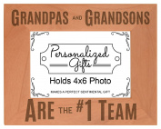 Grandpa Gifts Grandpas Grandsons are #1 Team Natural Wood Engraved 4x6 Landscape Picture Frame Wood