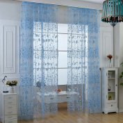 PanDaDa Floral Sheer Voile Curtain Drape Panel Tulle Valances Blue