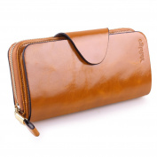 . - . -Yafeige Large Luxury Women's RFID Blocking Tri-fold Leather Wallet Zipper Ladies Clutch Purse
