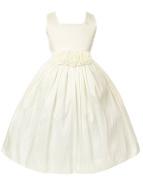 Sweet Kids Baby Girls' Sleeveless Rolled Flower Waistband Flower Girl Dress