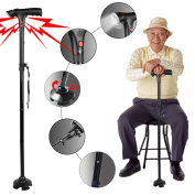 Sminiker LED Safety Folding Walking Cane, Safety LED Walking Stick with Alarm and Carrying Bag for Old Gentleman or Lady Aluminium Alloy Foldable Cane with Light