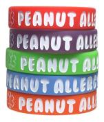 Kid's Peanut Allergy Silicone Medical Alert Bracelet(Pack of 5) Red, Orange, Blue, Purple, Green