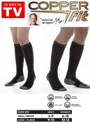 Copper Fit Energy Compression Socks Black Size XL Men 9-12 or Women 10-13