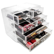 Sorbus® Acrylic Cosmetics Makeup and Jewellery Storage Case Display- 2 Large and 4 Small Drawers Space- Saving, . Acrylic Bathroom Case