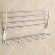 Aluminium Double Towel Bar 60cm wih 5 Hooks ,bathroom shelves,towel holders bath ,towel rack ,bathroom shelves