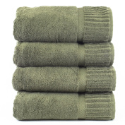 Bare Cotton Turkish Cotton Piano Bath Towels, Moss, Set of 4