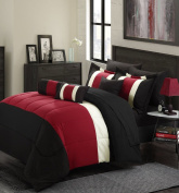 11-Piece Oversized Red & Black Comforter Set Queen Size Bedding with Sheet Set