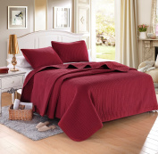 Burgundy Solid Colour Quilt 230cm L-260cm W, 2 Shams 50cm L-70cm W (inner 48cm - 60cm ). Hypoallergenic, Finely Stitched, All Season, Coverlet, Bed-cover, Washable, Durable