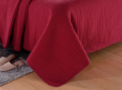 Burgundy Solid Colour Quilt 220cm L-170cm W, 1 Bonus Shams 50cm L-70cm W (inner 48cm - 60cm ). Hypoallergenic, Finely Stitched, All Season, Coverlet, Bed-cover, Washable, Durable. 6-month free-return policy