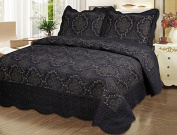 Homemusthaves-3pc Bedspread Quilted Bed Cover Embroidery Quilt