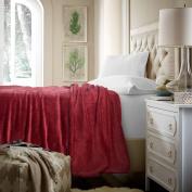 Flannel Fleece Luxury Blanket Red King Size Lightweight Cosy Plush Microfiber Solid Blanket by Bedsure