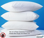 4 Pack Zippered Vinyl Pillow Covers Protects Against Bed Bugs & Dust Mites Waterproof