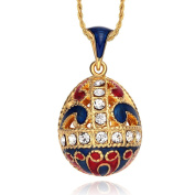 Tf Charms® Enamel Hollow Egg Pendant Necklace 46cm with 18k Gold Plated Traditional Hand Paint Multi Colour