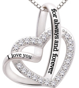 """ALOV Jewellery Sterling Silver """"I love you for always and forever"""" Love Heart Cubic Zirconia Necklace"""