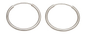 14K White Gold Continuous Endless Hoop Earrings,