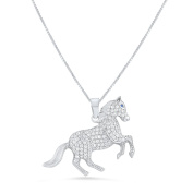 Sterling Silver Cz Running Stallion Horse Necklace 46cm