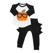 Puseky Baby Boys Grils Pumpkin Long Sleeve T-shirt+Pants Outfits Clothing Set