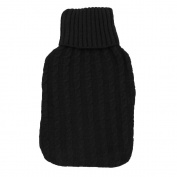 Hot Water Bottle Cover - Soft Cable Knit Design - Black